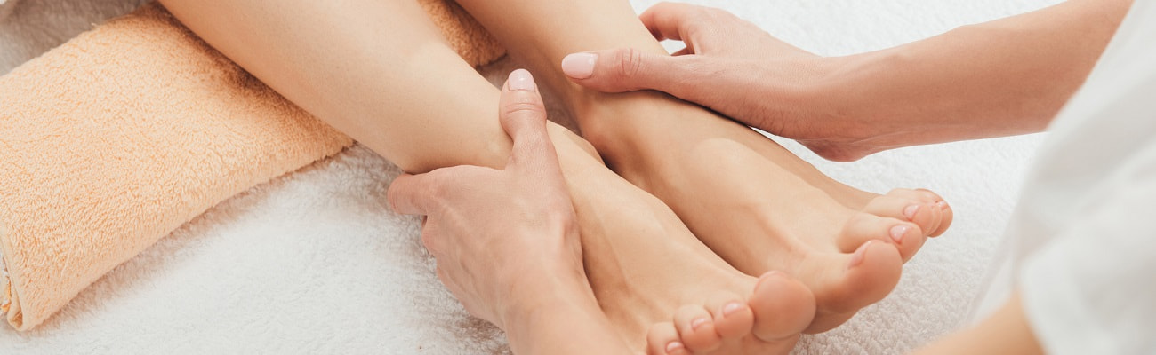 Soothing pedicure foot massage